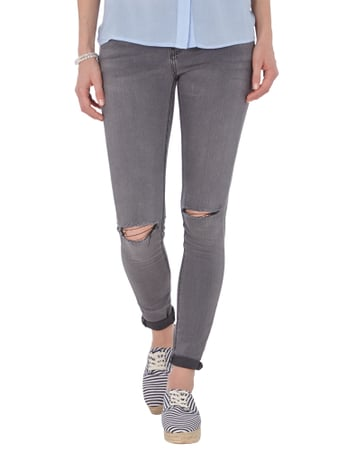 REVIEW Skinny Jeans im Destroyed Look Mittelgrau - 1
