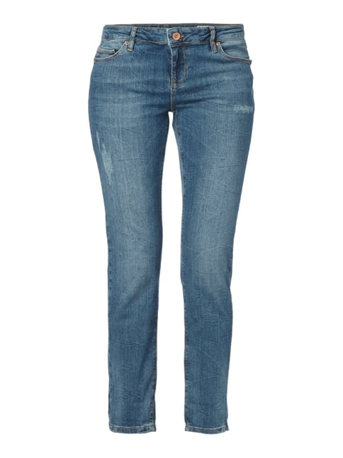 Slim Fit 5-Pocket-Jeans im Used Look Blau / Türkis - 1