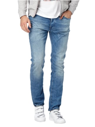 REVIEW Slim Fit 5-Pocket-Jeans im Used Look Himmelblau - 1
