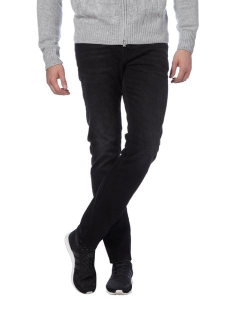 REVIEW Slim Fit 5-Pocket-Jeans im Used Look Schwarz - 1