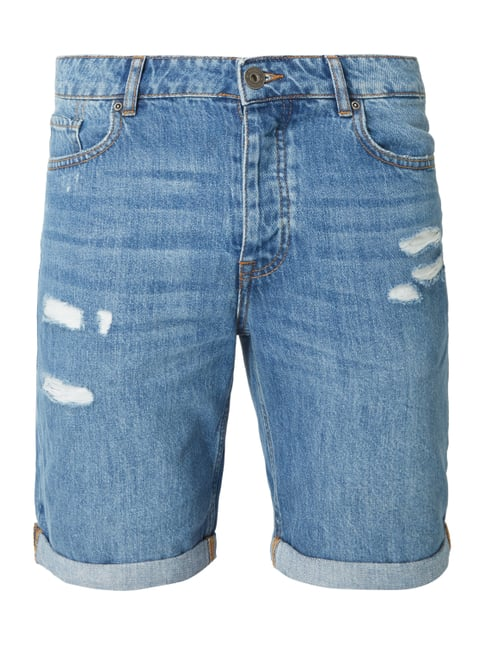 REVIEW Slim Fit Jeansshorts im Destroyed Look Blau   Türkis - 1 ... ab5a6183aa