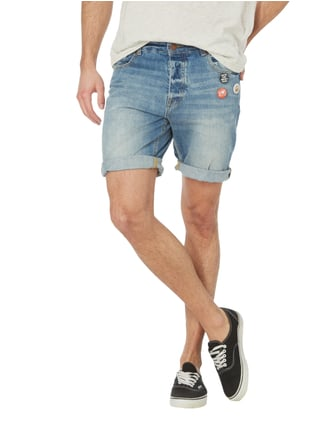 REVIEW Stone Washed Jeansbermudas mit Buttons Blau - 1