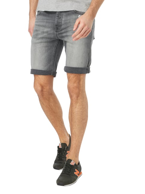 REVIEW Stone Washed Jeansshorts mit Ansteckern Stein - 1