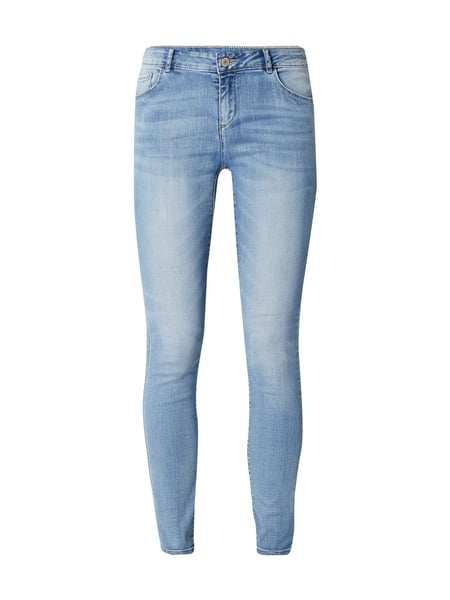 REVIEW Stone Washed Skinny Fit 5-Pocket-Jeans Hellblau