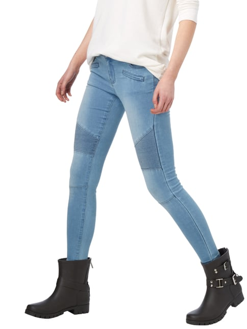 REVIEW Stone Washed Skinny Fit Jeans im Biker-Look Hellblau - 1