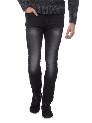 REVIEW Stone Washed Skinny Fit Sweatjeans Schwarz - 1