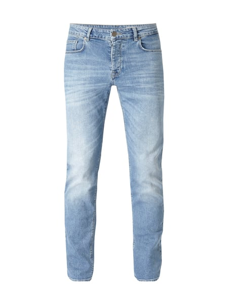 REVIEW Stone Washed Slim Fit 5-Pocket-Jeans Hellblau