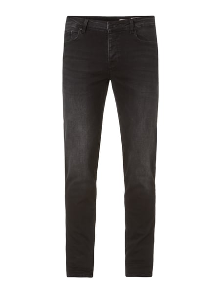 REVIEW Stone Washed Slim Fit Jeans Schwarz