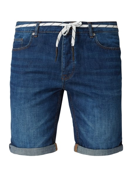 REVIEW Stone Washed Tapered Fit Jeansshorts Blau - 1