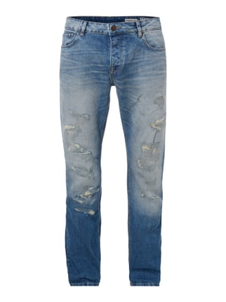 Straight Fit Jeans im Destroyed Look Blau / Türkis - 1