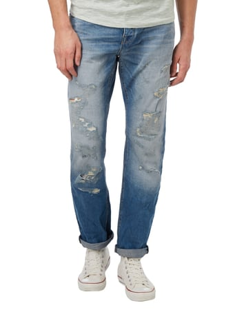 REVIEW Straight Fit Jeans im Destroyed Look Blau - 1