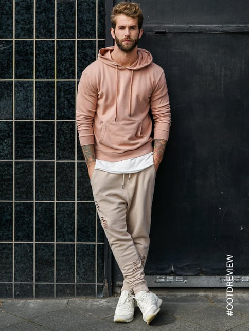 REVIEW Sweatpants im Destroyed Look Beige - 1