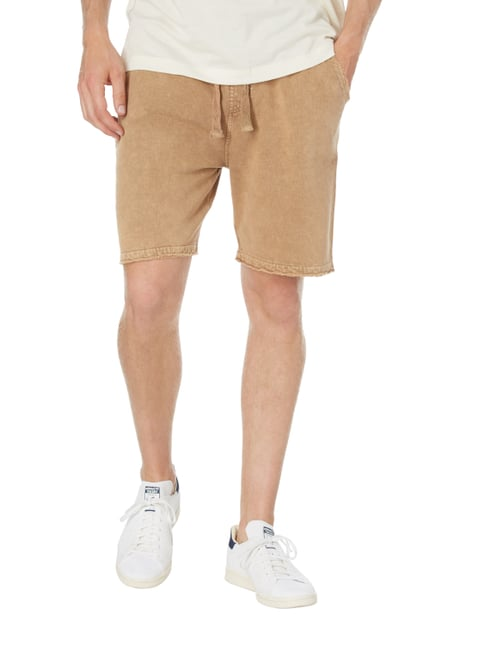 REVIEW Sweatshorts im Washed Out Look Beige - 1