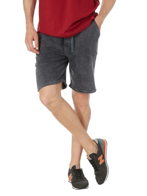 REVIEW Sweatshorts im Washed Out Look Schwarz - 1