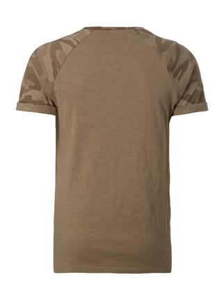 REVIEW T-Shirt mit Camouflage-Muster an den Ärmeln Taupe - 1