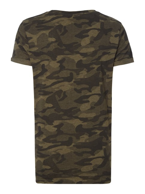 REVIEW T-Shirt mit Camouflage-Muster Olivgrün meliert - 1