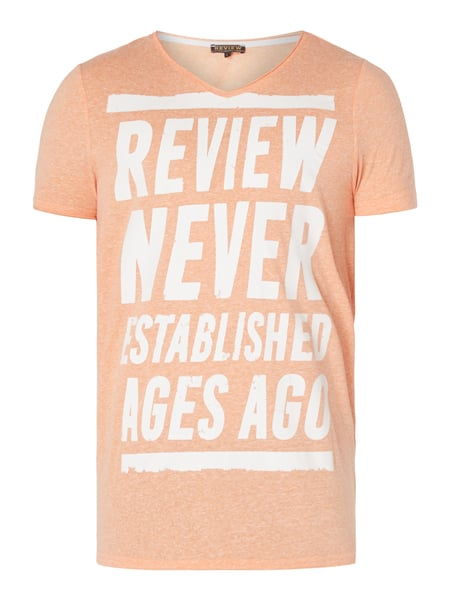 REVIEW T-Shirt mit großem Logo-Print Orange meliert