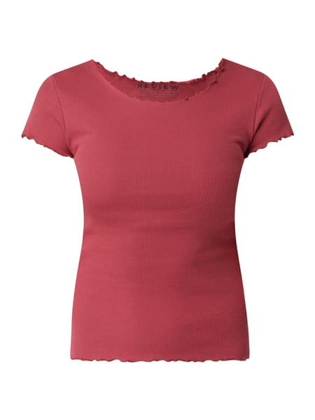 REVIEW T-Shirt mit Rippenstruktur Rot - 1