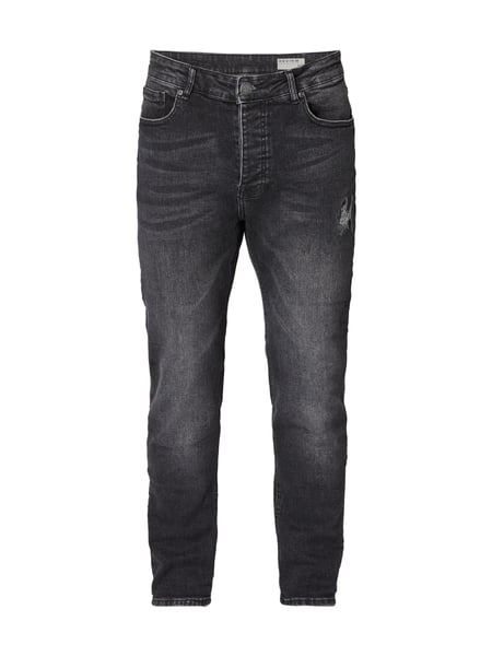 REVIEW Tapered Fit Jeans im Used Look Schwarz