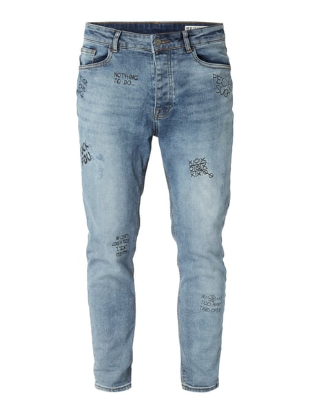 REVIEW Tapered Fit Jeans mit Prints Jeans