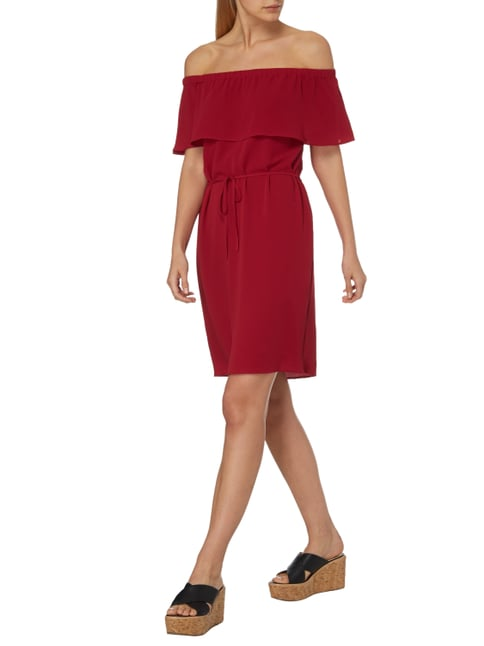 s.Oliver BLACK LABEL Off Shoulder Kleid mit Taillenband in Rot - 1