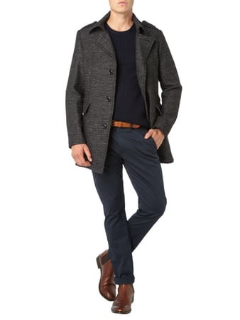 s.Oliver BLACK LABEL Slim Fit Kurzmantel mit Reverskragen in Grau / Schwarz - 1