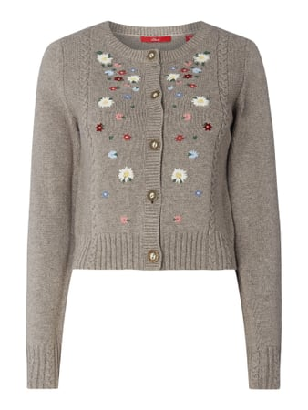 s.Oliver RED LABEL Cardigan mit floralen Stickereien Beige - 1