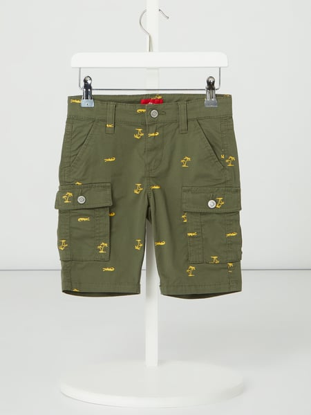 s.Oliver RED LABEL Cargoshorts mit Allover-Muster Grün - 1