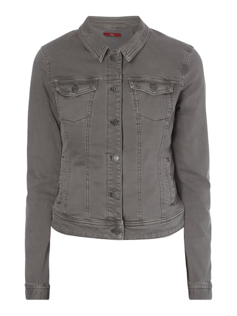 Jeansjacke aus Coloured Denim Grau / Schwarz - 1