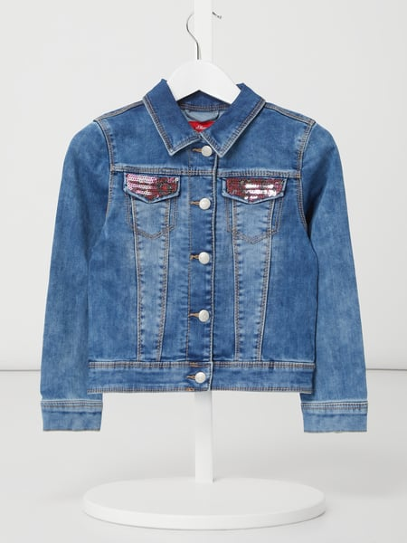 s.Oliver RED LABEL Jeansjacke mit Pailletten-Applikationen Blau - 1