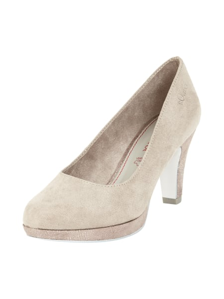 Plateau-Pumps in Veloursleder-Optik Braun - 1