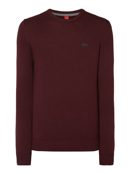 s.Oliver RED LABEL Pullover aus reiner Baumwolle Bordeaux Rot
