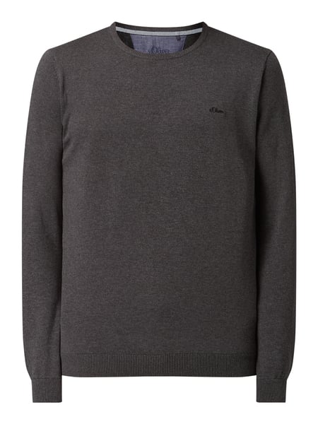 s.Oliver RED LABEL Pullover mit Logo-Stickerei Grau - 1