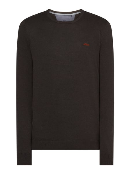 s.Oliver RED LABEL Pullover mit Logo-Stickerei Braun - 1
