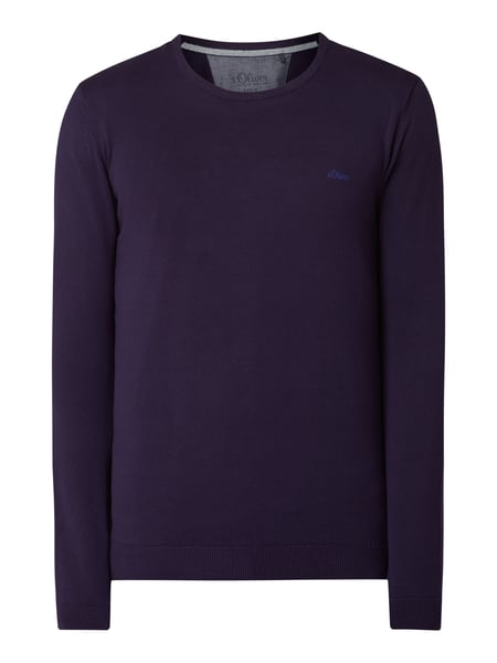 s.Oliver RED LABEL Pullover mit Logo-Stickerei Lila - 1