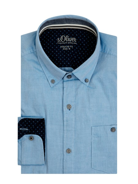 s.Oliver RED LABEL Regular Fit Freizeithemd aus Twill Blau - 1