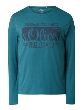 s.Oliver RED LABEL Regular Fit Longsleeve mit Logo-Print Türkis - 1