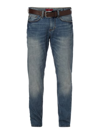 Stone Washed Regular Fit 5-Pocket-Jeans mit Gürtel Blau / Türkis - 1