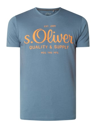 s.Oliver RED LABEL T-Shirt aus Baumwolle Türkis - 1