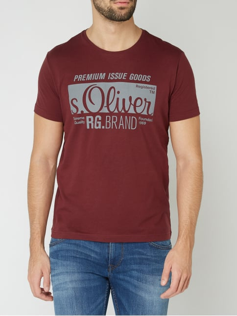 Oliver RED LABEL T-Shirt mit Logo-Print Bordeaux Rot - 1 c1028f47aa