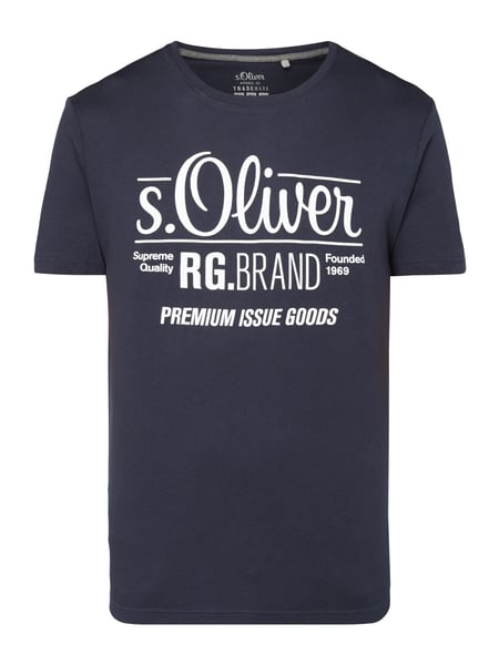 s.Oliver RED LABEL T-Shirt mit Logo-Print Marineblau