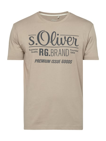 s.Oliver RED LABEL T-Shirt mit Logo-Print Taupe