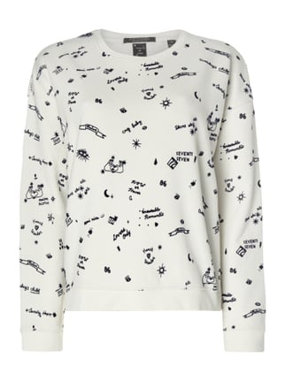 Boxy Fit Sweatshirt mit Allover-Muster Weiß - 1