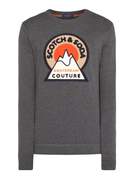 6283f860f552 SCOTCH-SODA Pullover mit Logo-Applikation in Grau   Schwarz online ...