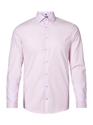 Slim Fit Business-Hemd aus reiner Baumwolle Rosé - 1