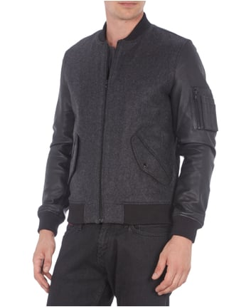 Selected Homme College-Jacke mit Lederärmeln Anthrazit - 1