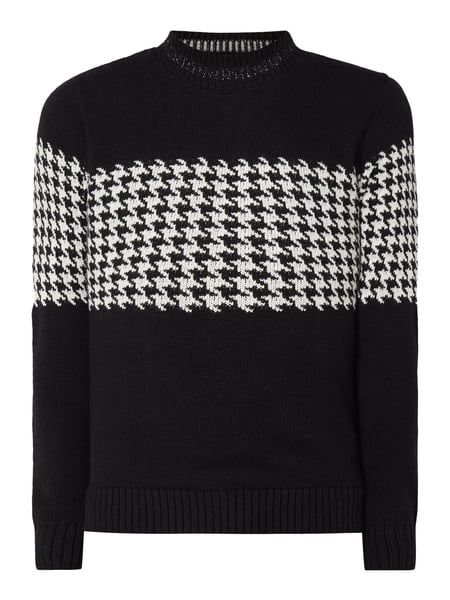 Selected Homme Pullover mit Hahnentrittmuster Schwarz - 1