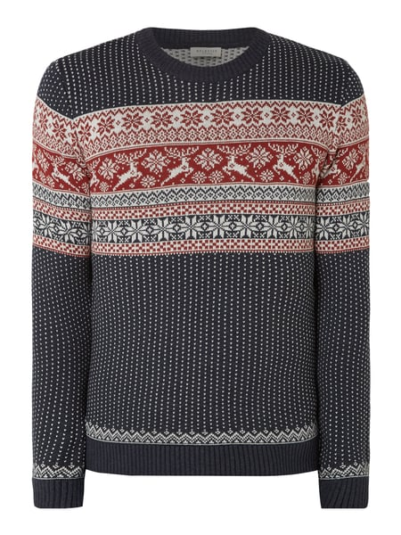 Selected Homme Pullover mit Norweger-Dessin Blau - 1