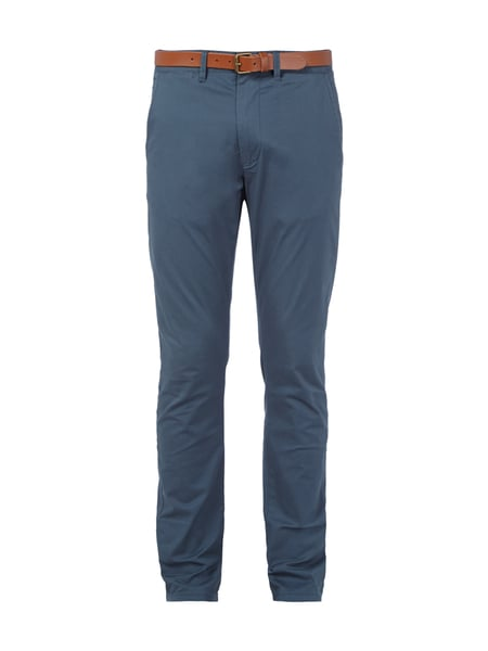 check out 39207 0433e SELECTED-HOMME Slim Fit Chino mit Ledergürtel in Blau ...