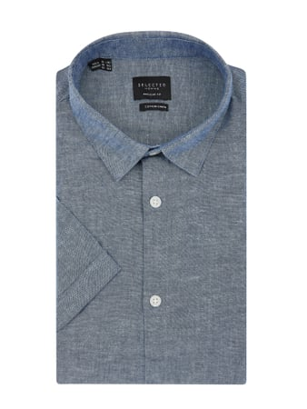 Selected Homme Slim Fit Leinenhemd Blau - 1